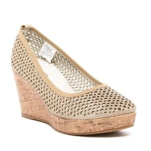 Stuart Weitzman Girls Caye Gold Wedge Heel Shoes